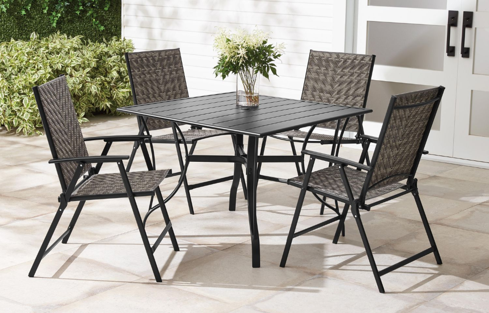 Mainstays 5 Piece Wicker Folding Dining Set Walmart
