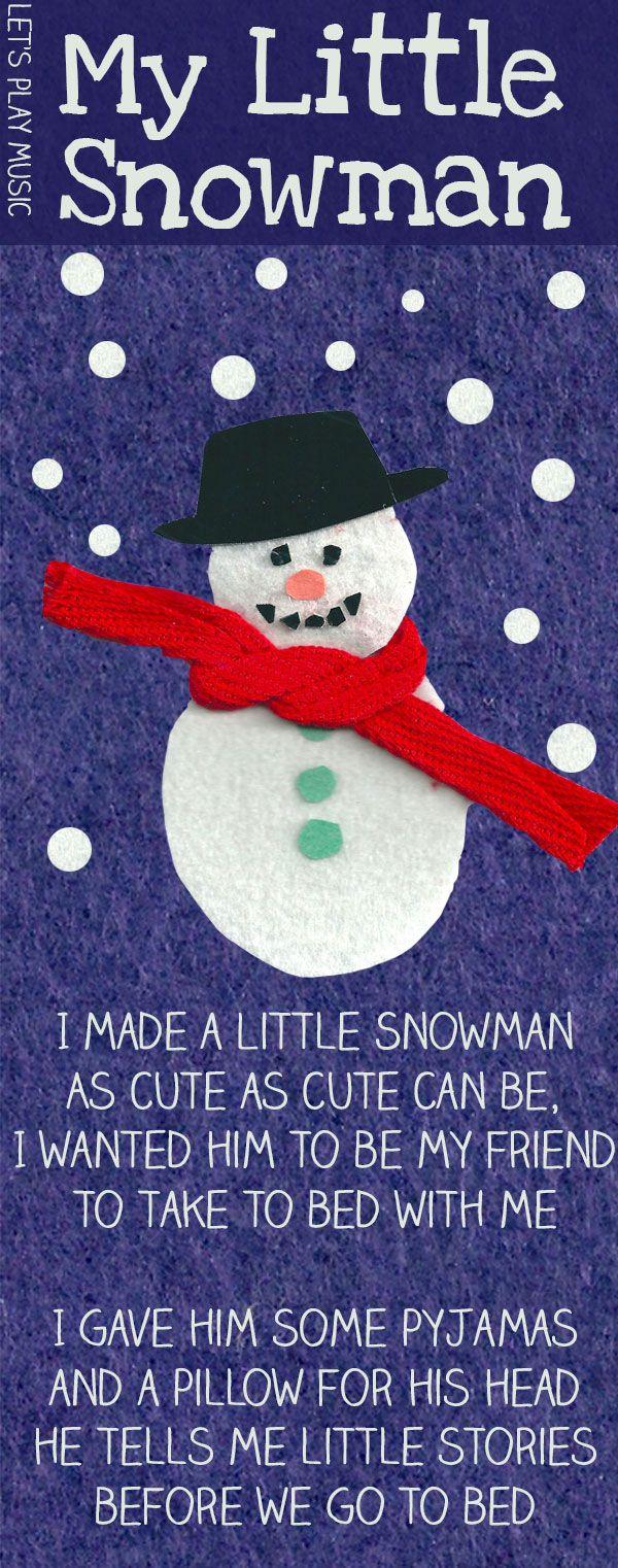 My Little Snowman Snowman Songs for Christmas Snowman