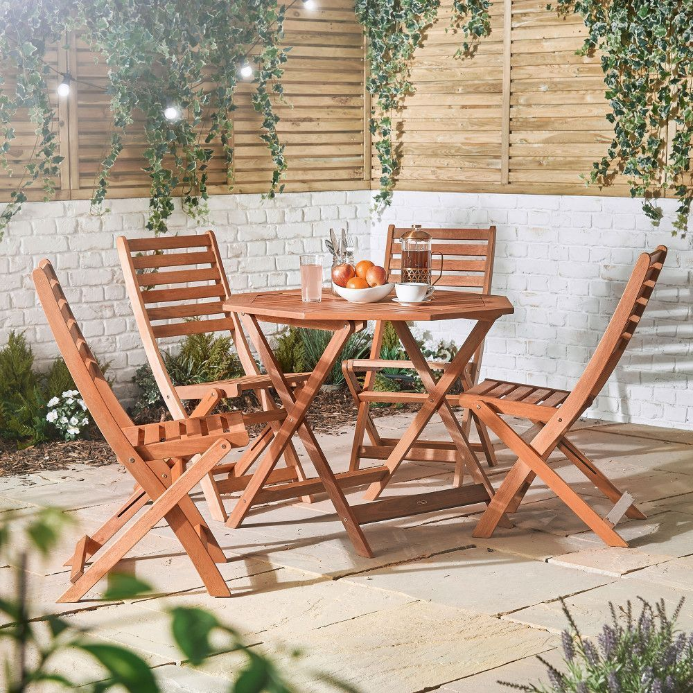 Patio Furniture Dining Set 4 Seater Wooden Yard Table And Chairs Outdoor Folding Wooden Dining Set Wooden Garden Furniture Outdoor Chairs