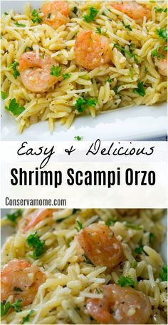 Easy & Delicious Shrimp Scampi Orzo #shrimpscampi