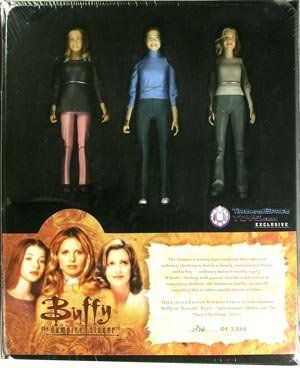 "Summers Family Album Box Set by Diamond Select. $49.00. ""Buffy vs. Dracula"" Buffy. ""No Place Like Home"" Joyce. ""Intervention"" Dawn. This three pack - put together nicely in a box set that looks like a book (ala Willow's Spellbook and The Book of Vengeance featuring Anya, Demon Anya and D'Hoffryn) - features a figure of Buffy's mom that is not available anywhere as well as a variant Dawn and variant Buffy that are only in this set. It features: ""Buffy vs. Dracula"" Buf..."