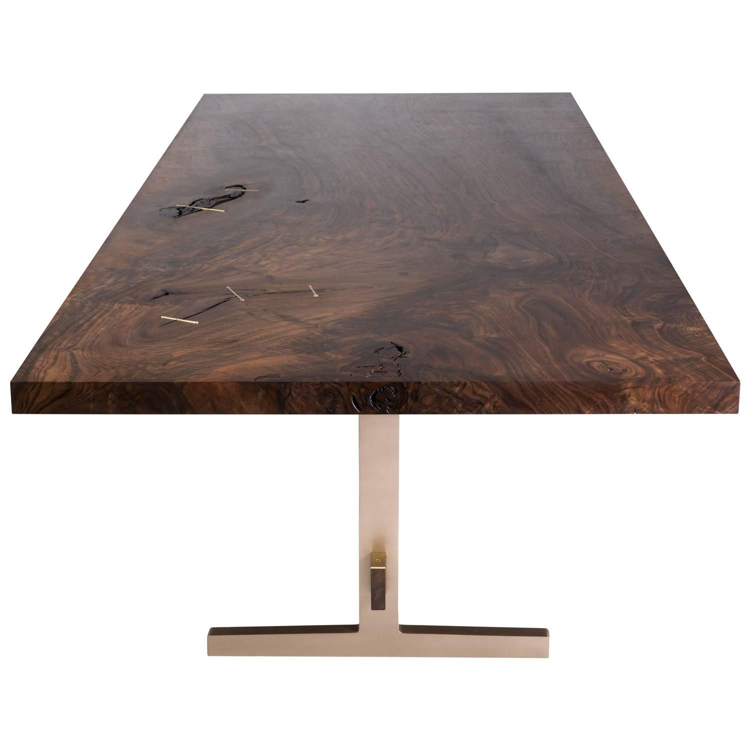 Modern Cast Bronze Trestle Dining Table With California Bastogne