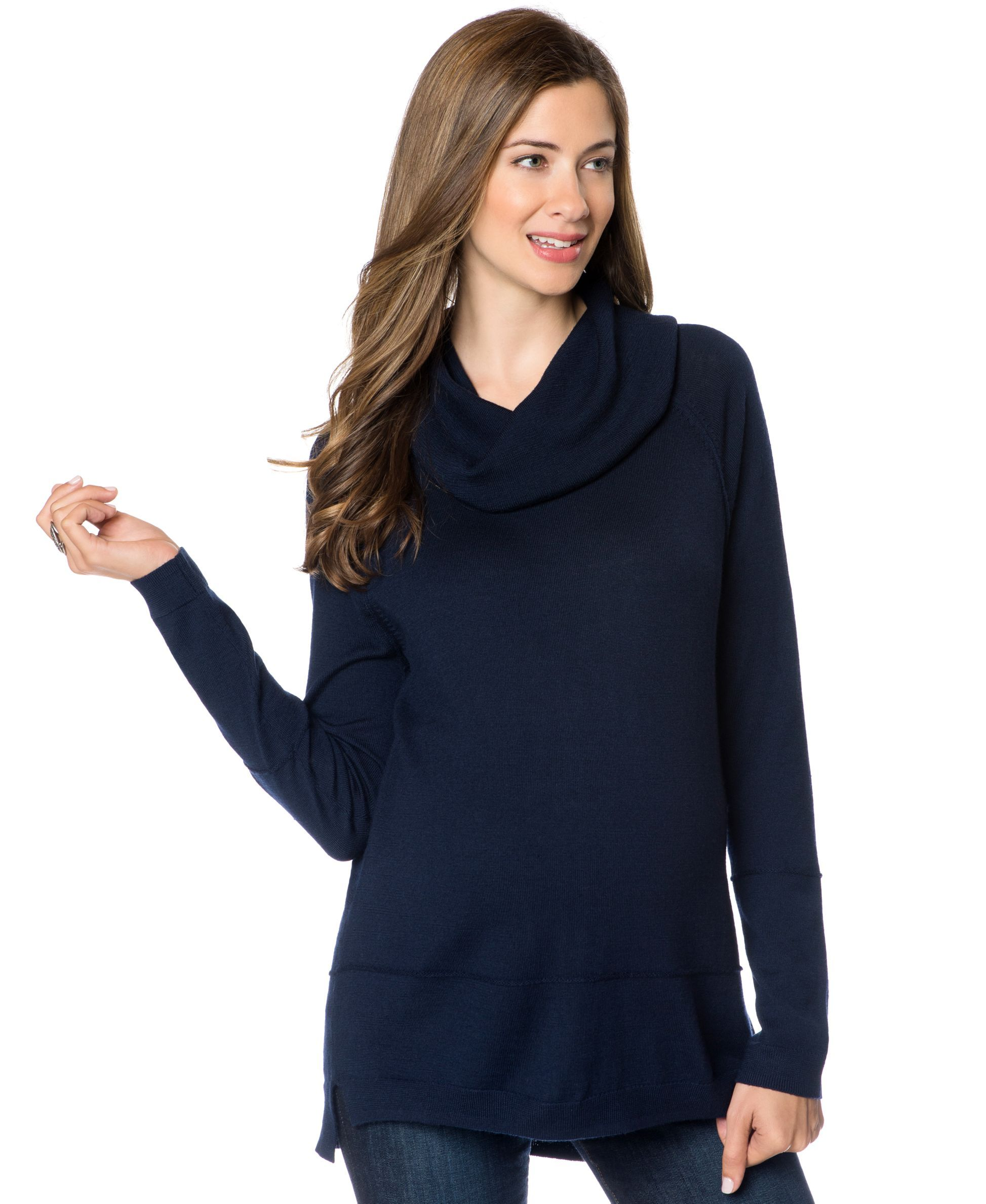 A Pea In The Pod Maternity Cowl-Neck High-Low Wool Sweater ...
