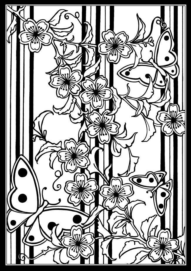 Japanische Schablone Designs Glasmalerei Malbuch 5656 | Coloring 2 ...