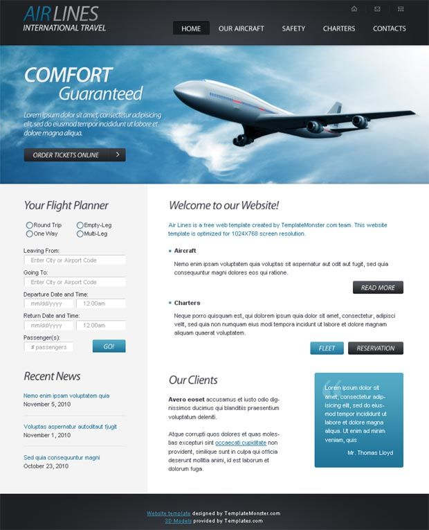 Website Templates Free Free Html5 Website Template For Airlines Company  Template And