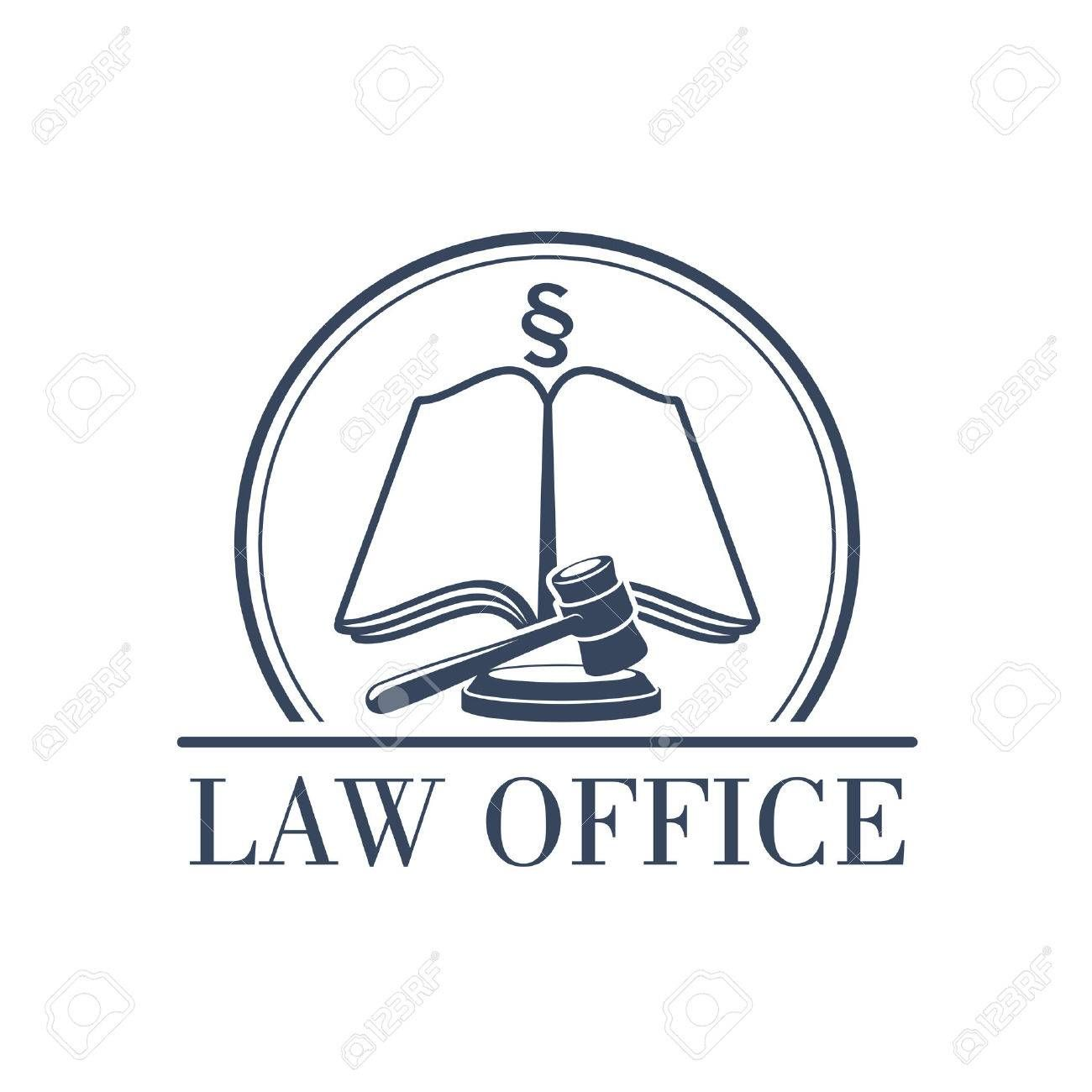 Legal office or center icon with symbol of judge gavel ...