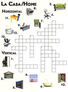 Aprender partes de la casa en ingl s con este crucigrama for Mobiliario en ingles