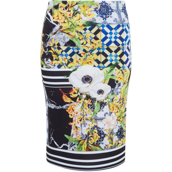 Clover Canyon Multicoloured Floral Tile Print Neoprene Skirt