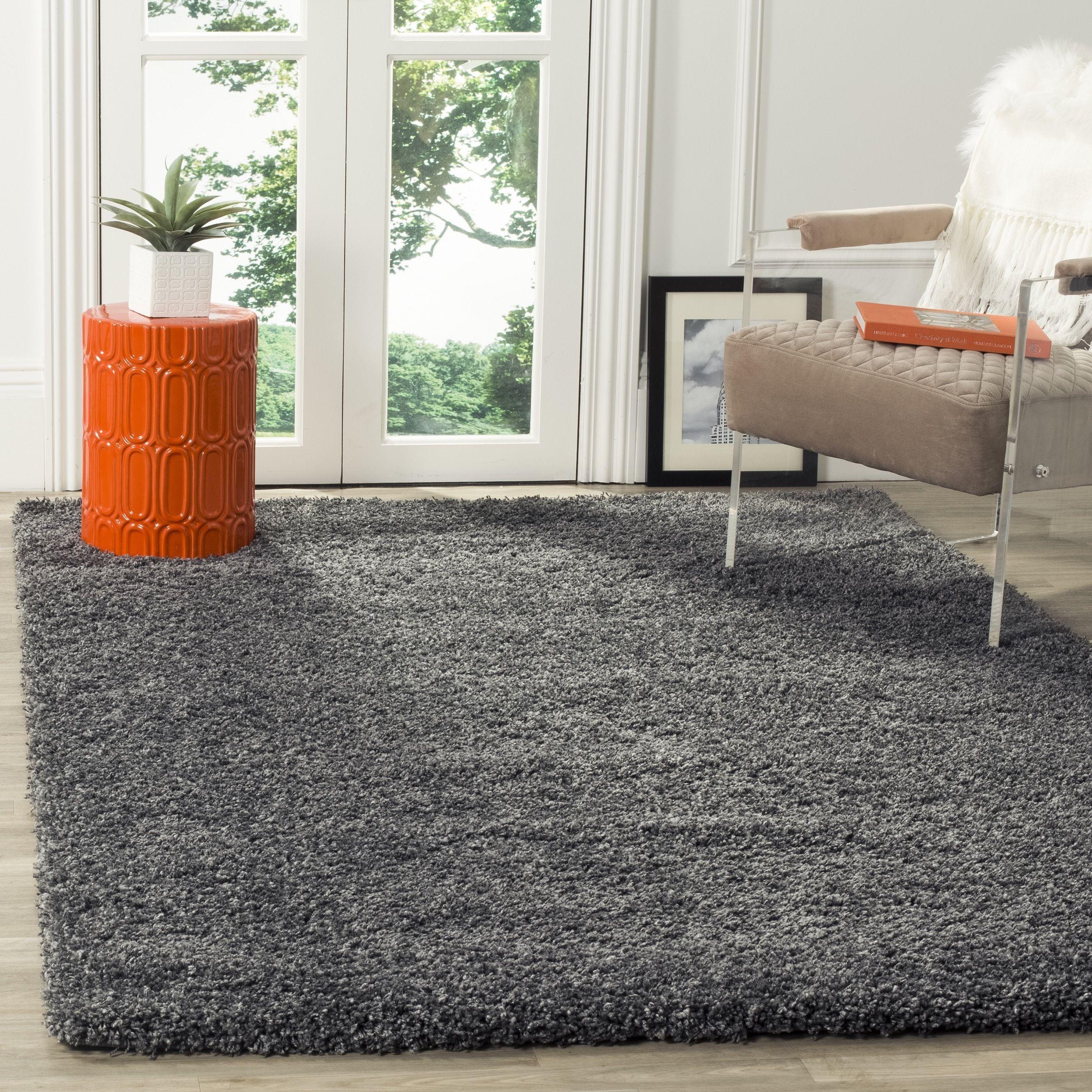 rug for living room size%0A Safavieh California Cozy Plush Dark Grey  Charcoal Shag Rug    u     Square
