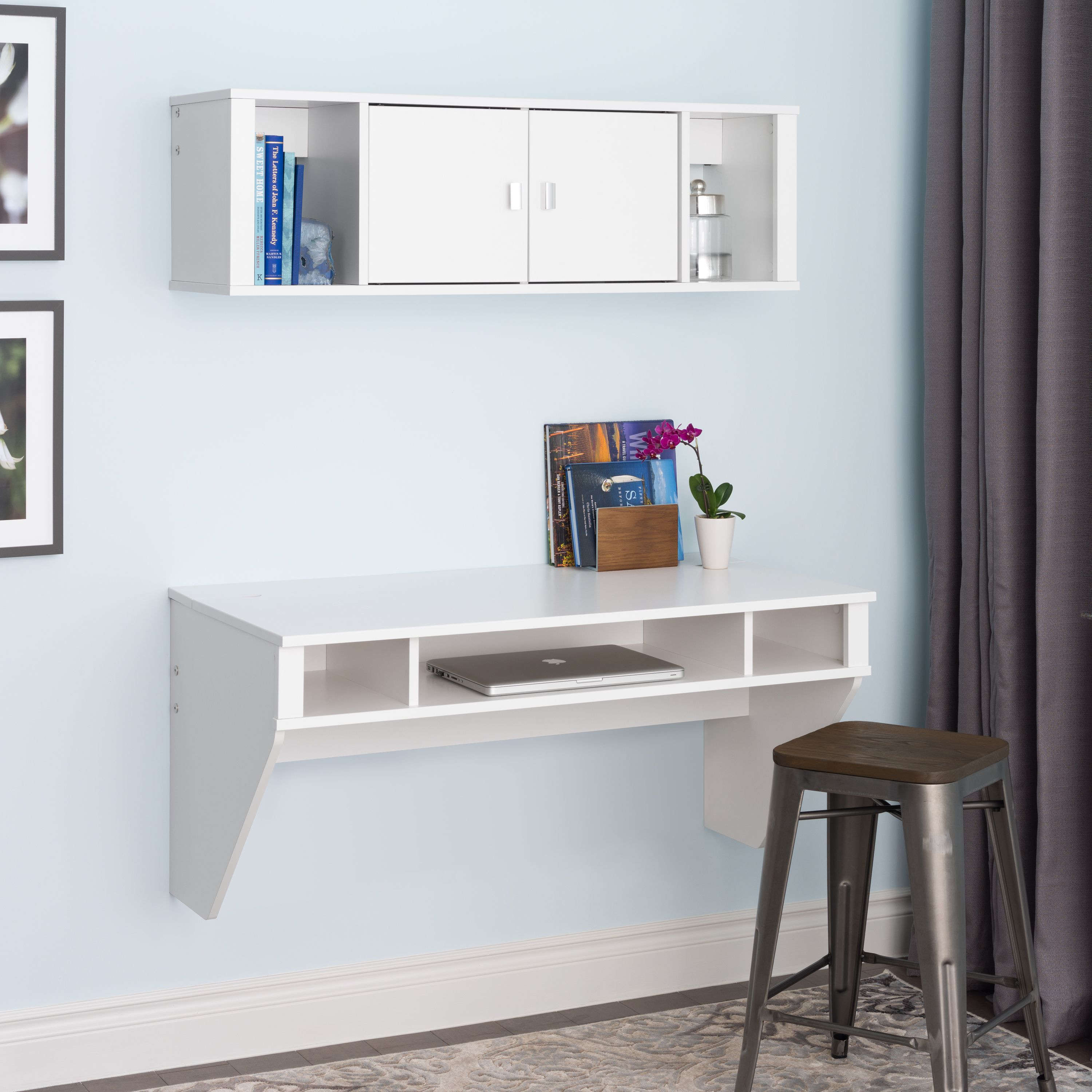 this stunning floating desk and hutch combination is ideal for a rh pinterest com