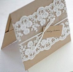 Lace wedding invitation. This would be pretty on colored paper
