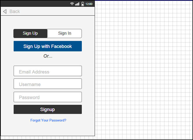 sign up form from pose wireframe import this template for free