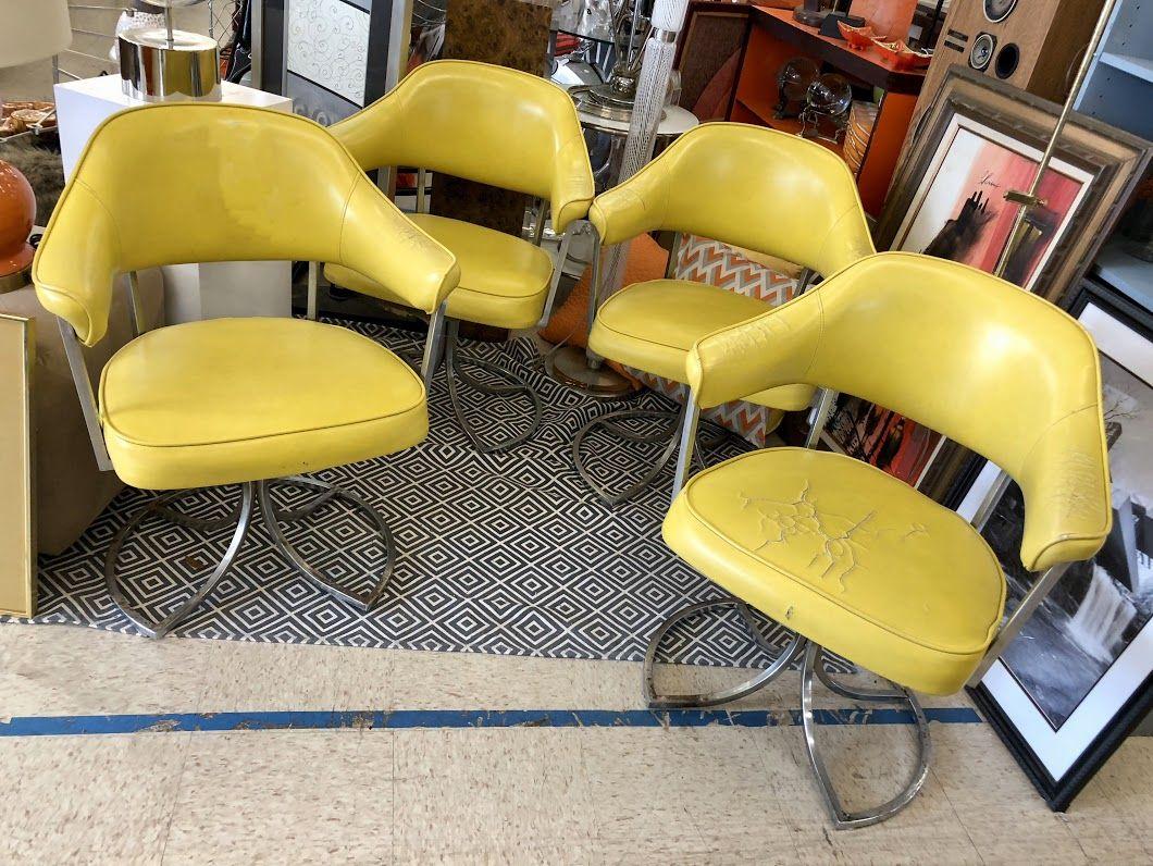 set of four milo baughman yellow and chrome chairs 410 dealer 91 rh pinterest com