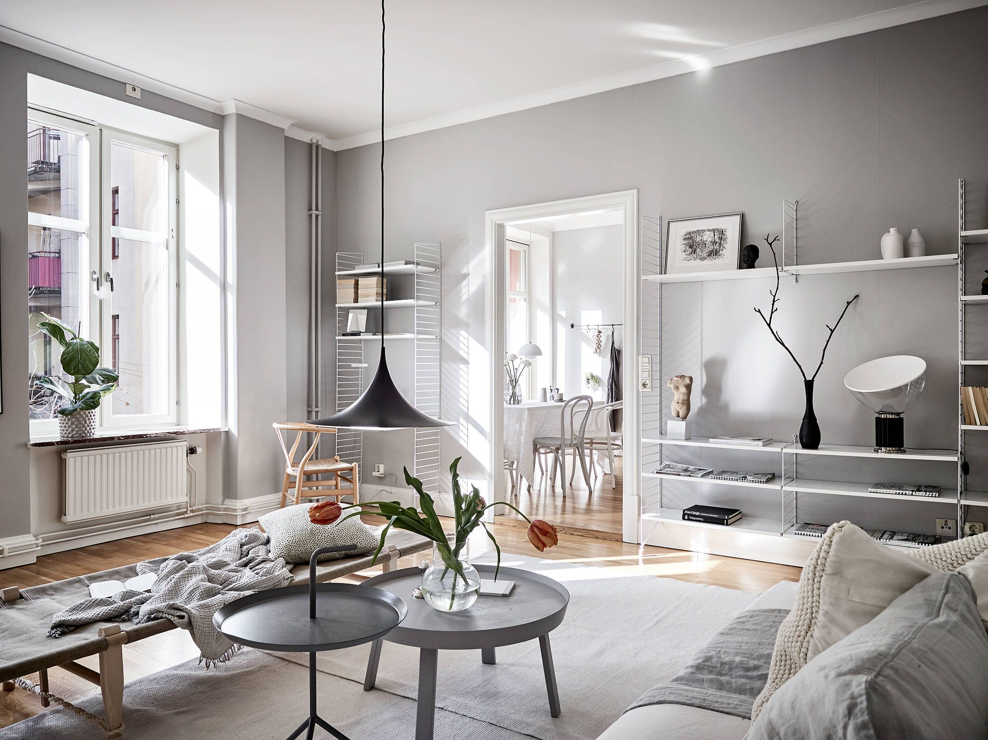 Scandinavian home stylish with light gray walls