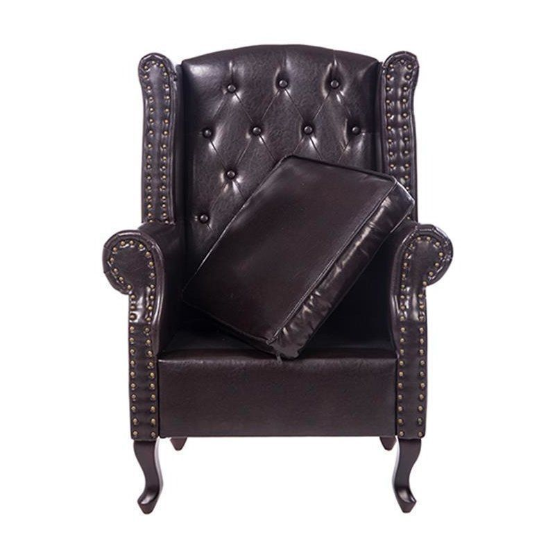 living room ideas with leather furniture%0A Brown Wingback Armchair Leather Round Arms Cushion Bedroom Living Room  Furniture
