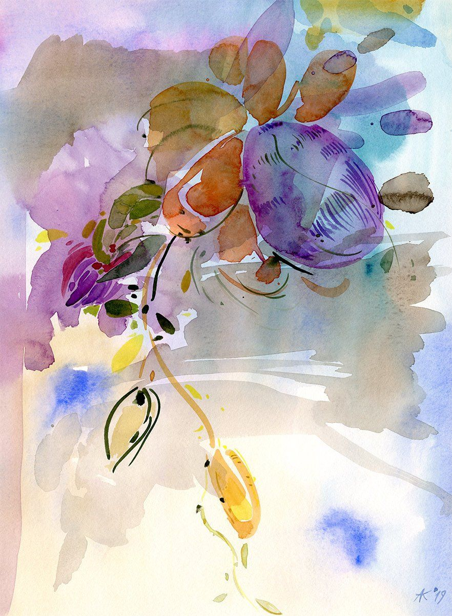 Purple Flowers Watercolor Painting Colorful Artwork For Home Or