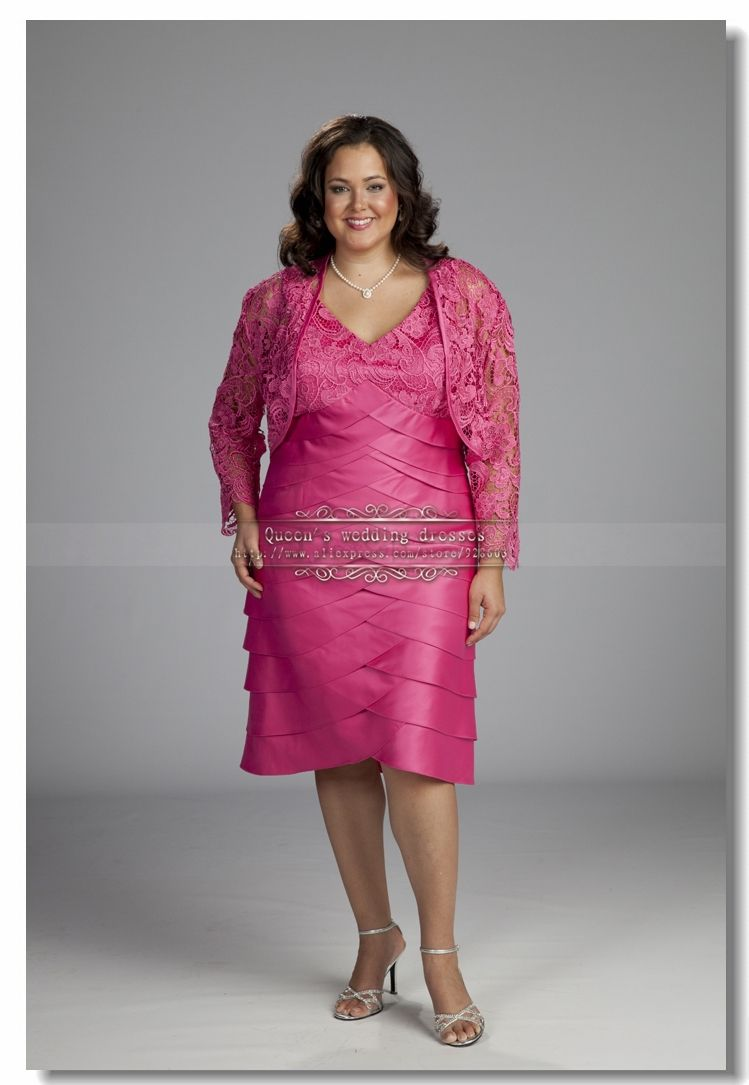 Plus Size Mother of the Bride Dress with Lace Jacket $129.00 ...