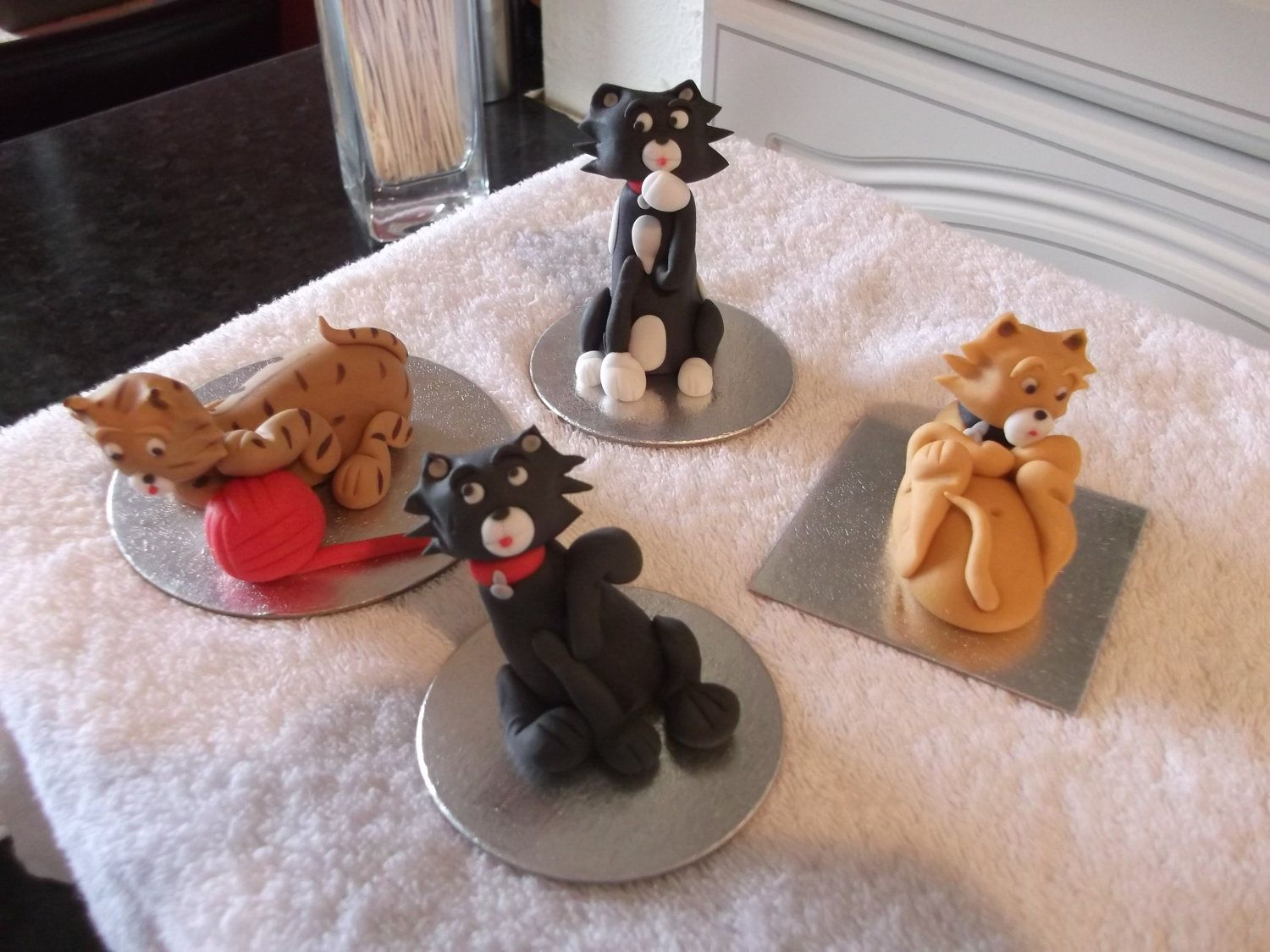 Edible Cat Cake Toppers Made With Fondant Icing 163 7 99