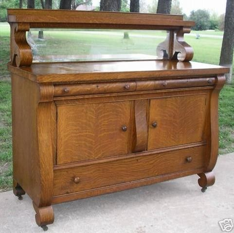 Antique Tiger Oak Empire Sideboard Buffet Server Nice 05