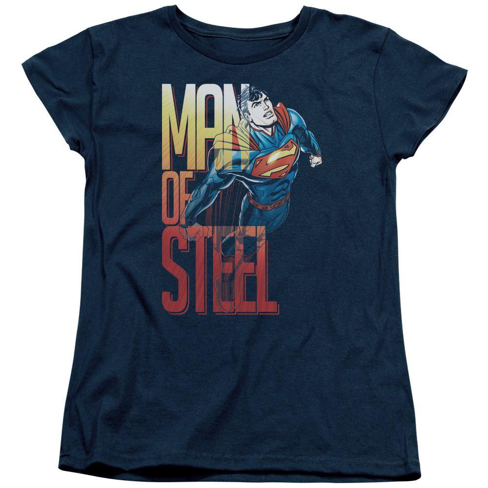 Superman Steel Flight Navy Womens T-Shirt