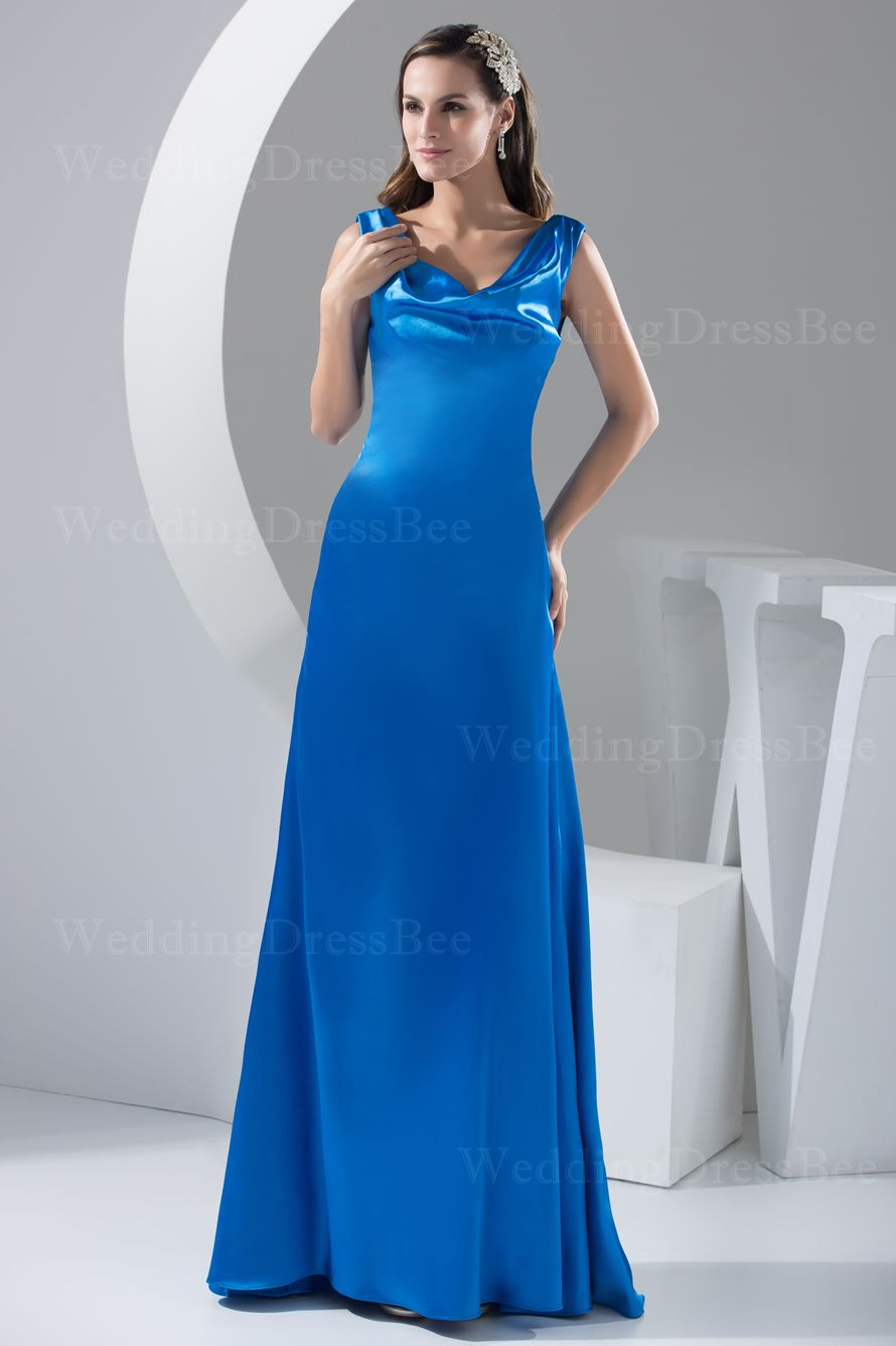 Royal blue dress for wedding guest  Sleeveless floor length elastic satin dress Read More image