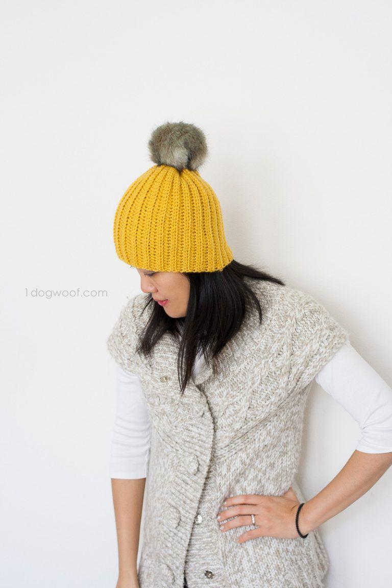 Lolly-Poms Easy Ribbed Crochet Beanie | Crochetspiration | Pinterest ...