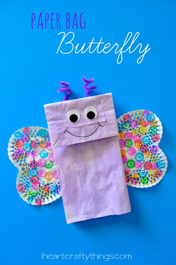 Paper Bag Butterfly Kids Craft from iheartcraftythingscom