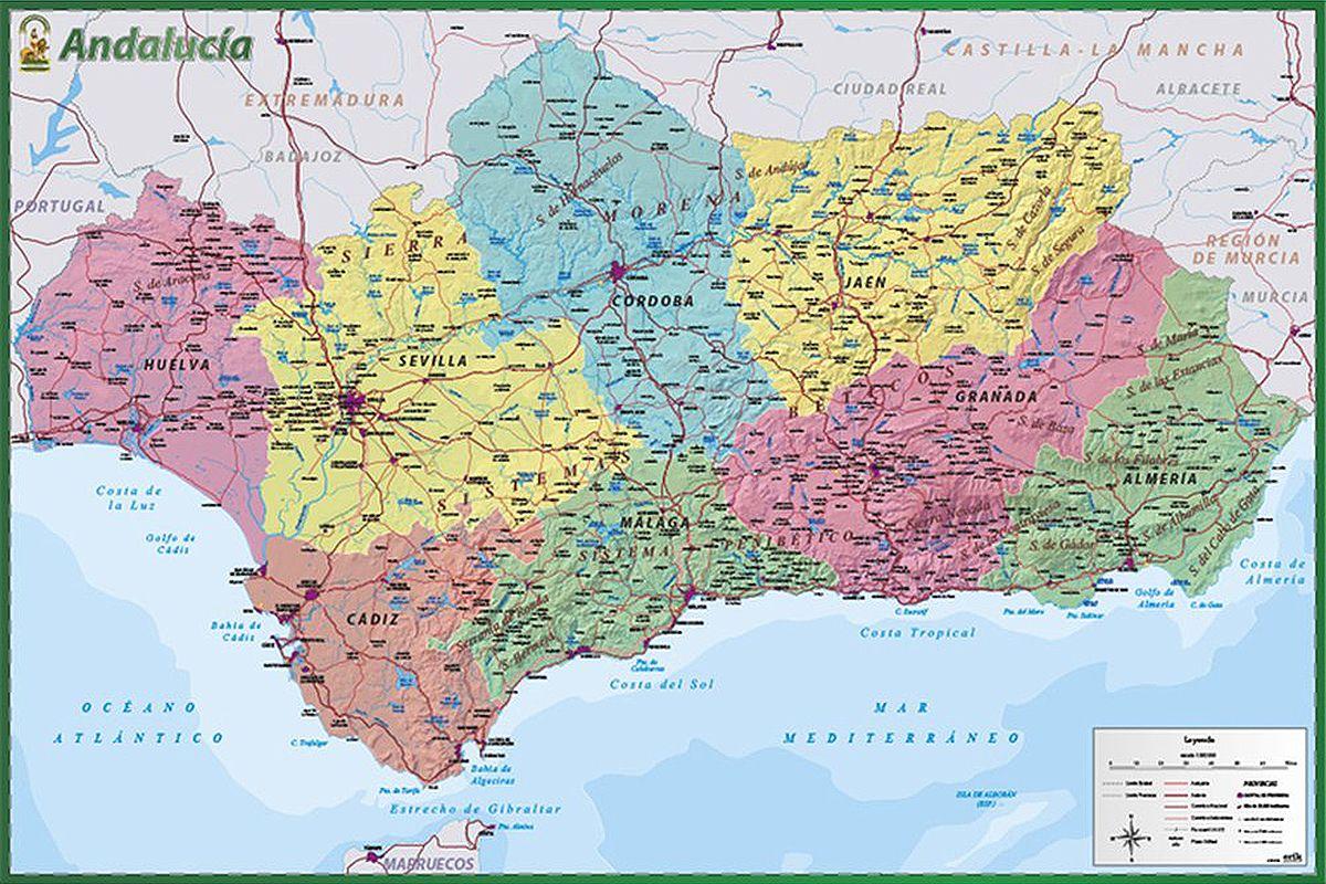 Mapa De Andalucia Poster Weltkarte Poster Andalusien Und Karten