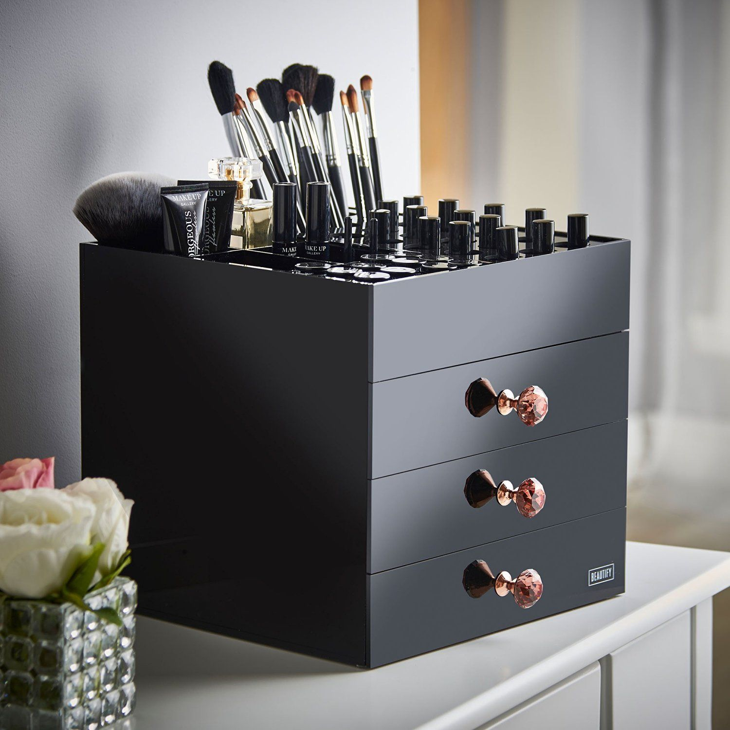 Beautify Large Black Acrylic Cosmetic Makeup Organizer Stand With 3 Drawers 21 Lipstick Holders 6 Individual Upper Storage Sections