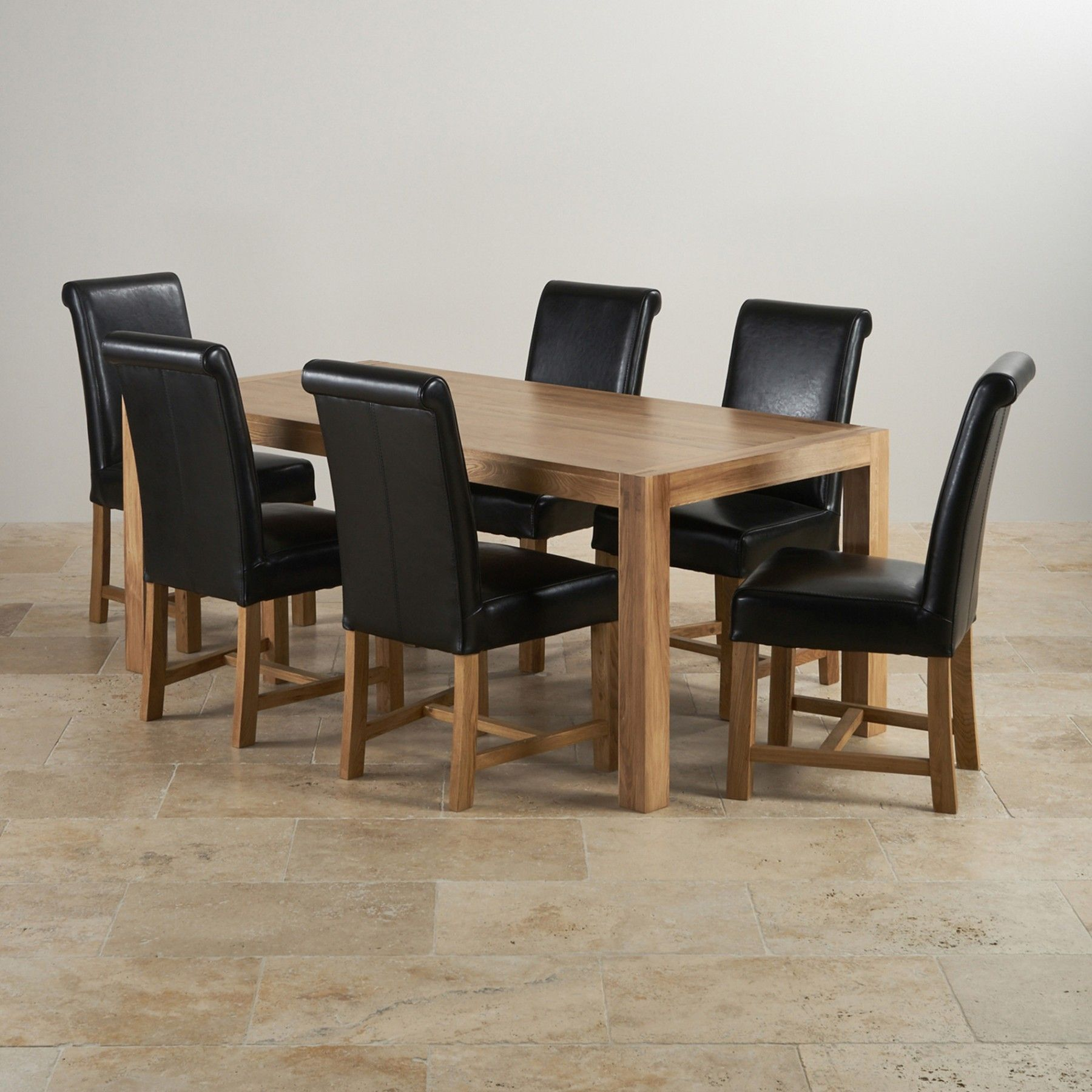 Alto Natural Solid Oak Dining Set 6ft Table With 6 Braced Scroll