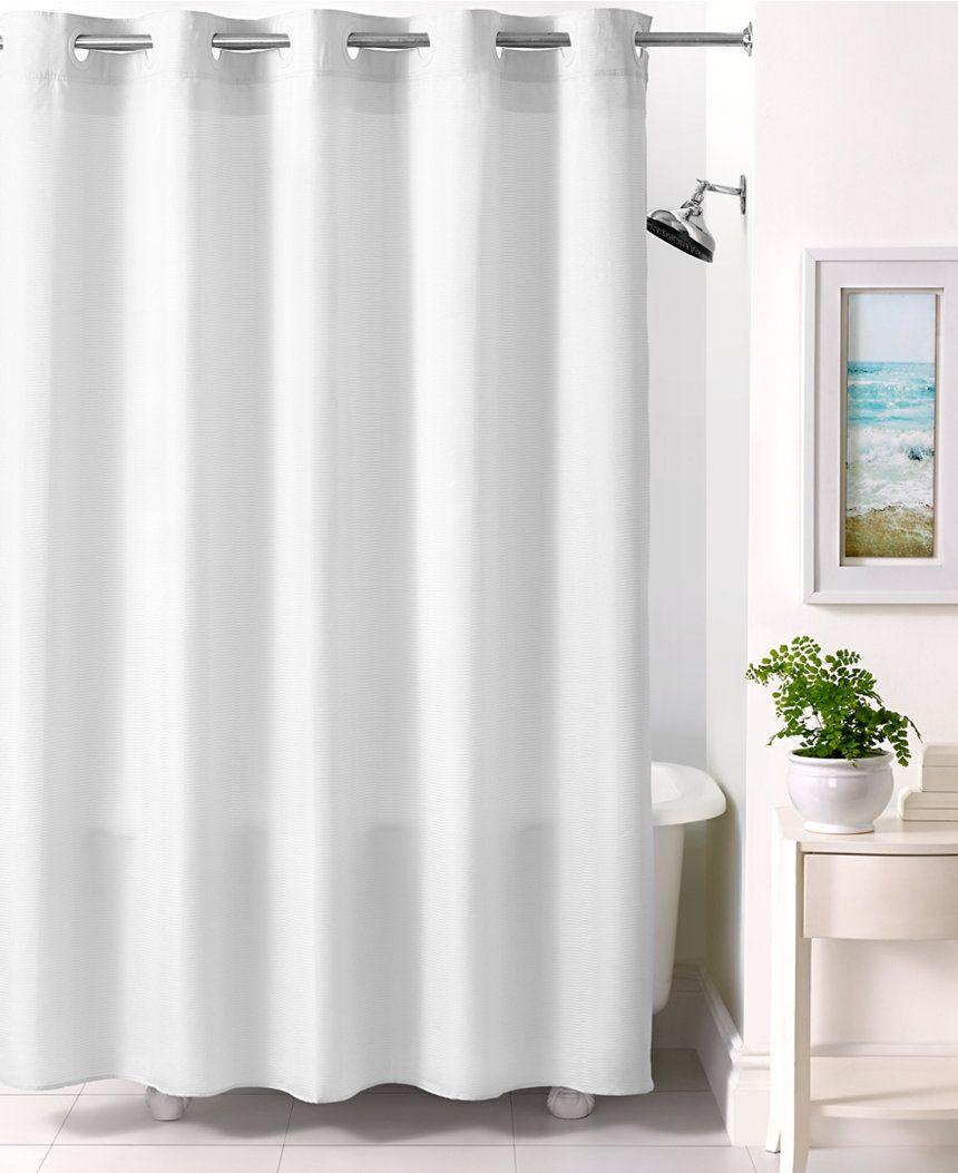Martha Stewart Collection Textured Stripe Hookless Shower Curtain ...