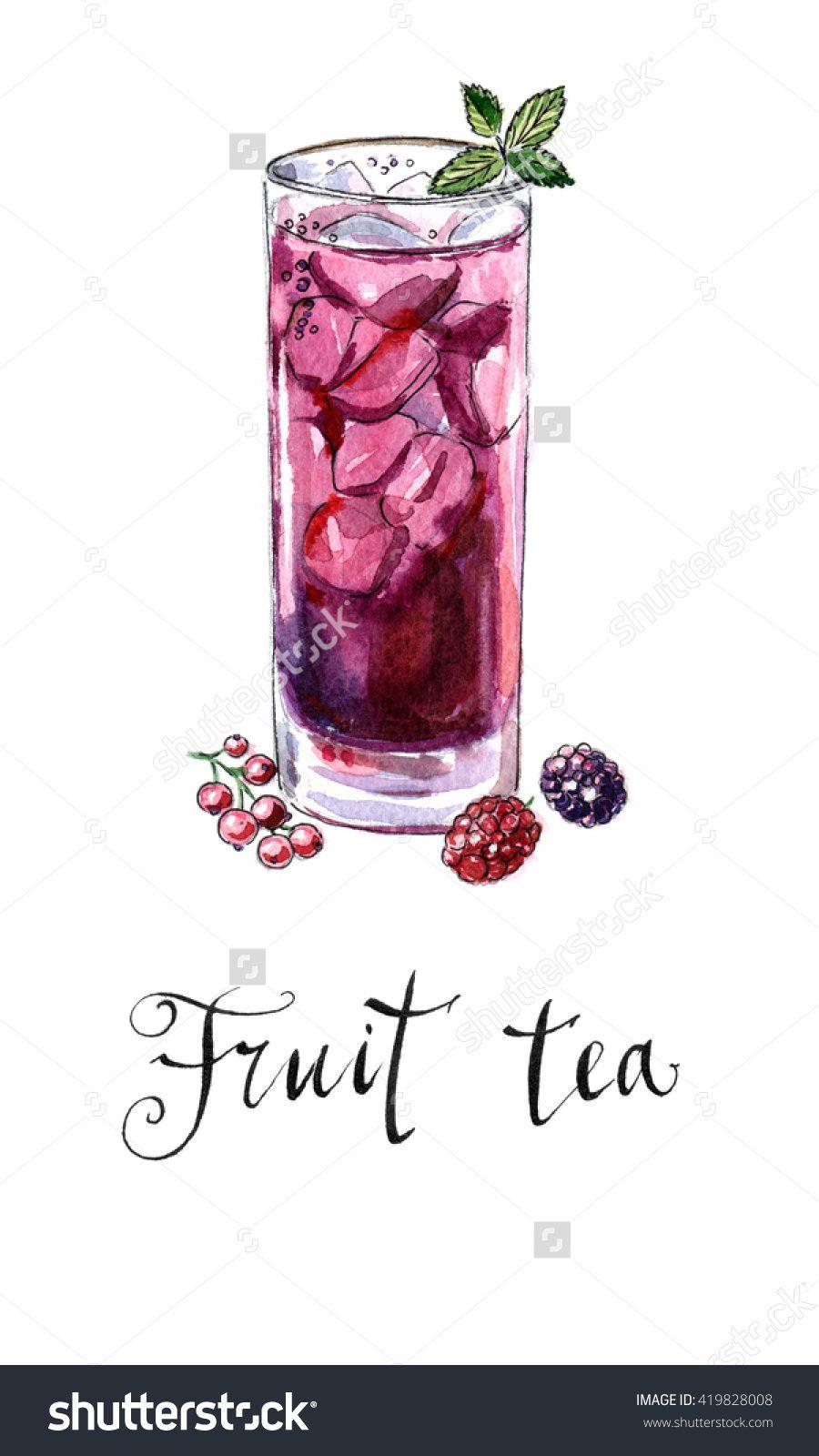 Glass of fruit tea with mint, hand drawn - watercolor Illustration-食品及饮料,物体-海洛创意(HelloRF)-Shutterstock中国独家合作伙伴-正版素材在线交易平台-站酷旗下品牌