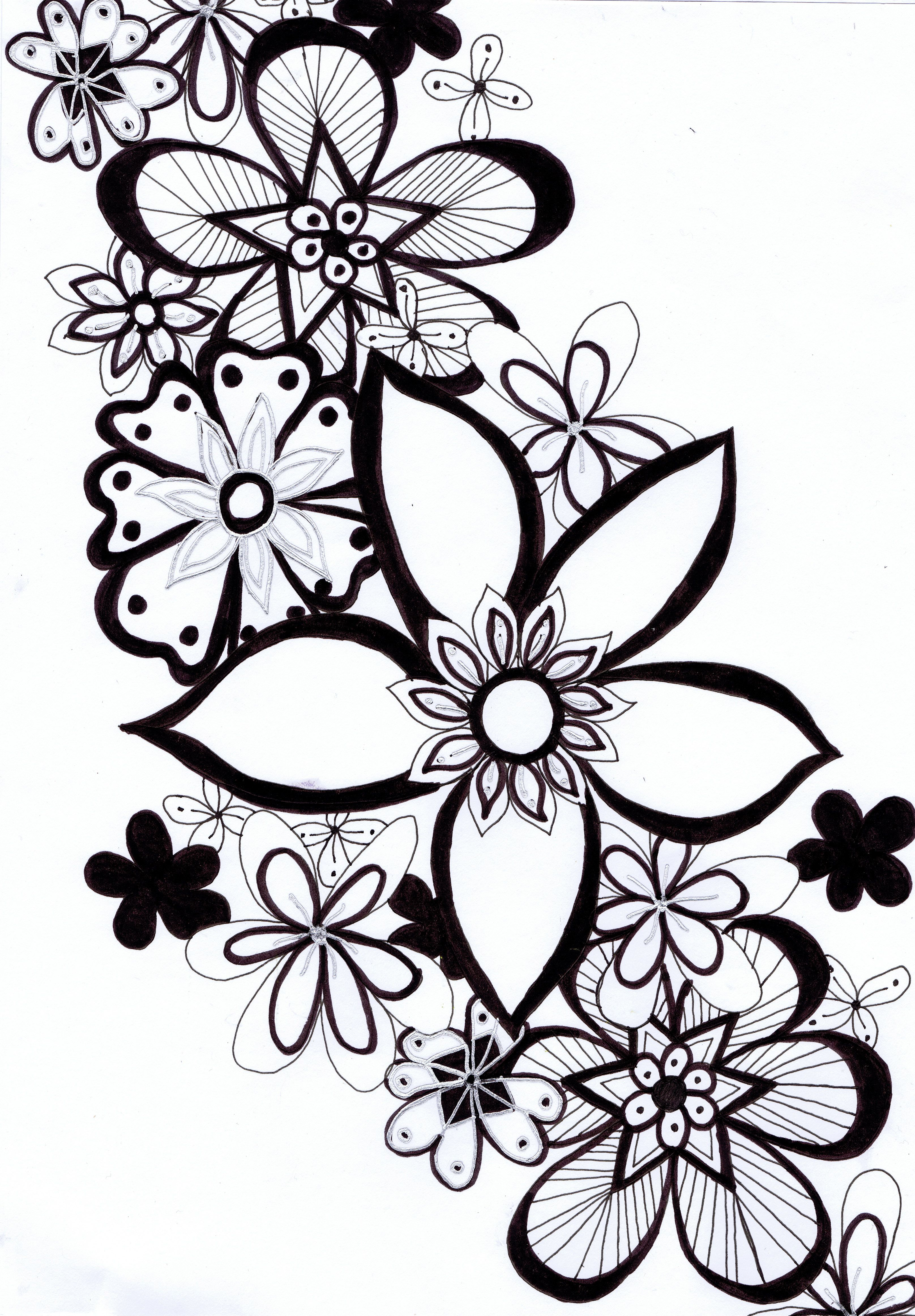 Stock Vector Flower pattern drawing, How to draw hands