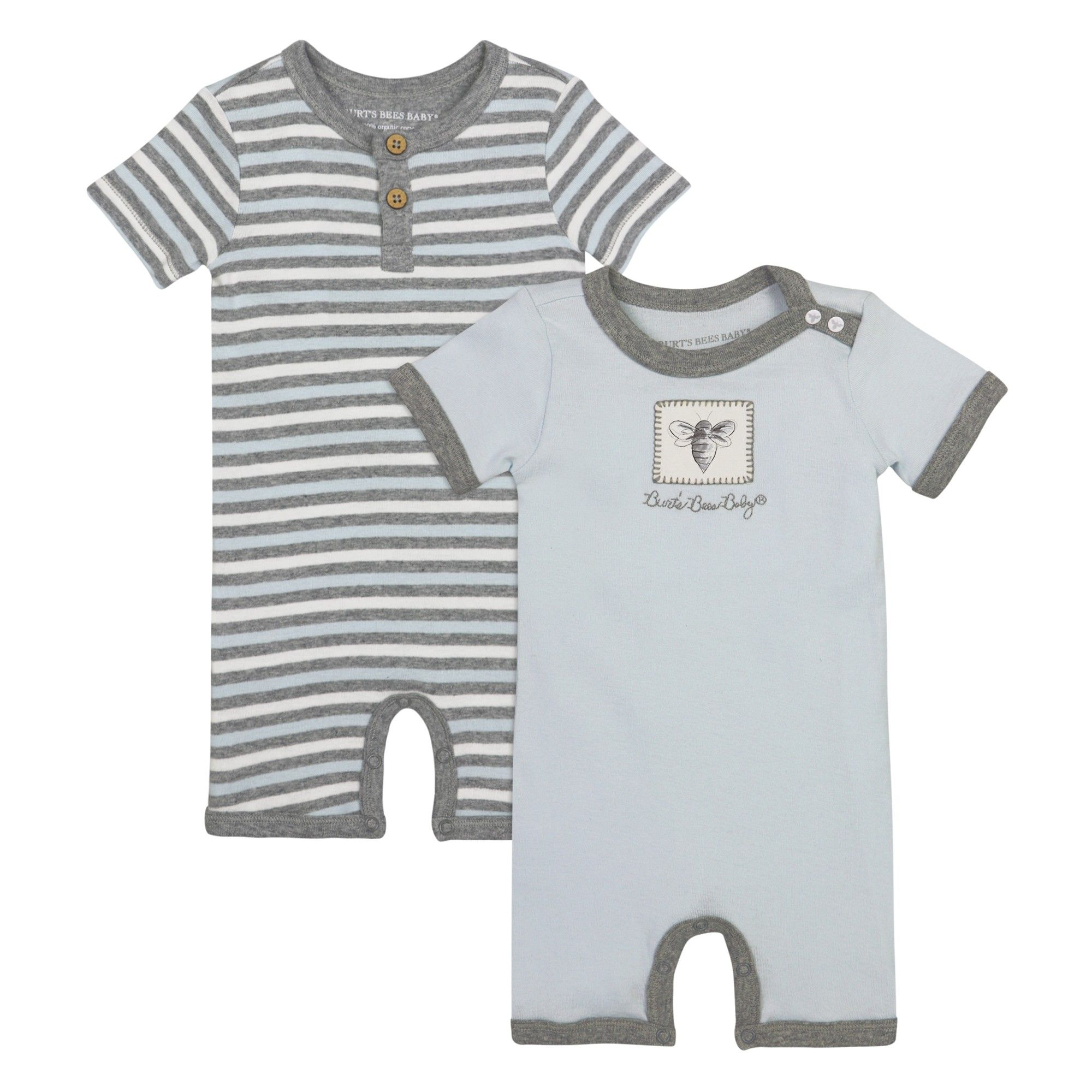 Burts Bees Baby Boy Organic Rompers Outfit Set Size Newborn 3 6 Months Grey Blue