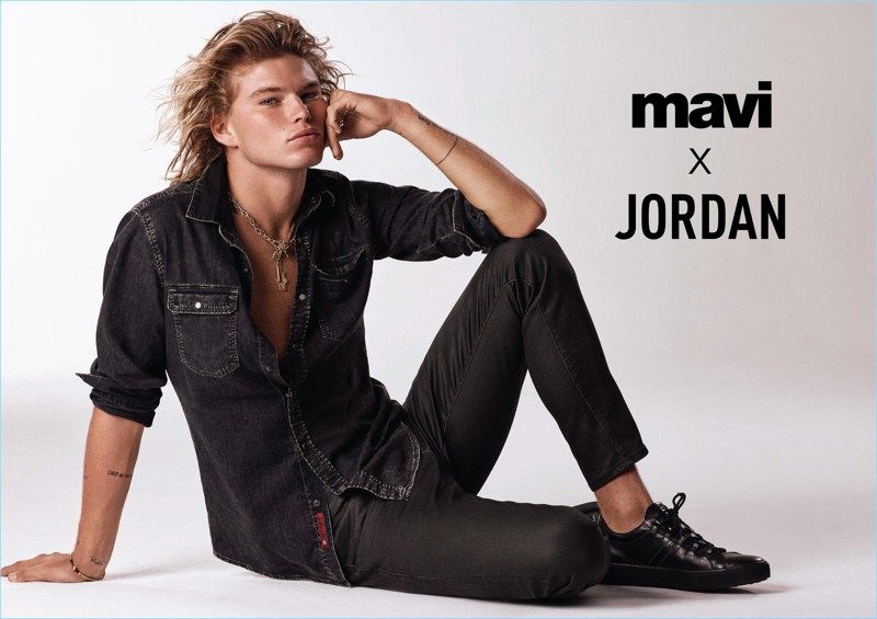 dafd43a47407c8 Jordan Barrett Rocks Denim for Mavi Spring '18 Campaign | Actors ...