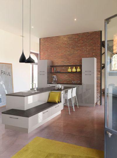 Cuisine avec coin repas, table, bar, îlot pour manger Kitchens - Table De Cuisine Avec Plan De Travail