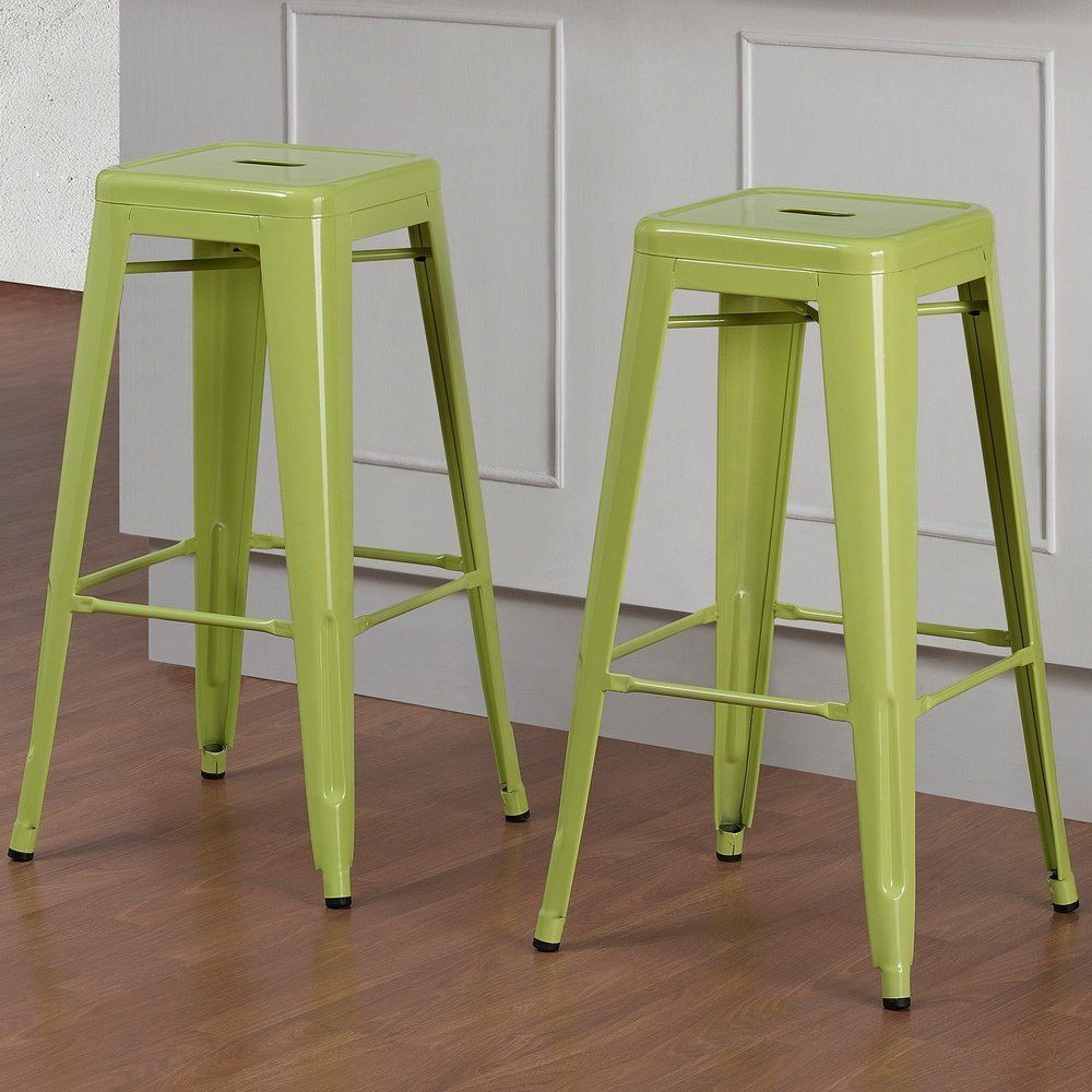 Set Of 2 Lime Green Tolix Style Metal Bar Stools In Glossy Powder Coated Finish