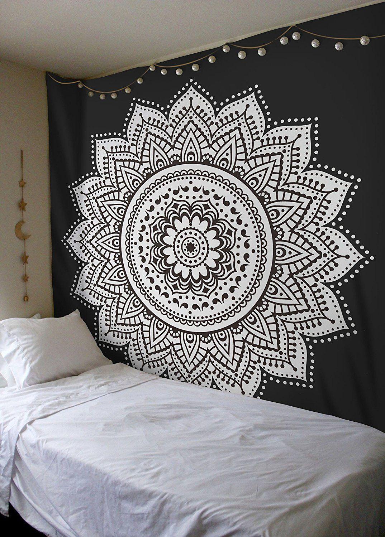 black white lotus mandala bohemian wall tapestry bohemian wall tapestry lotus mandala and. Black Bedroom Furniture Sets. Home Design Ideas