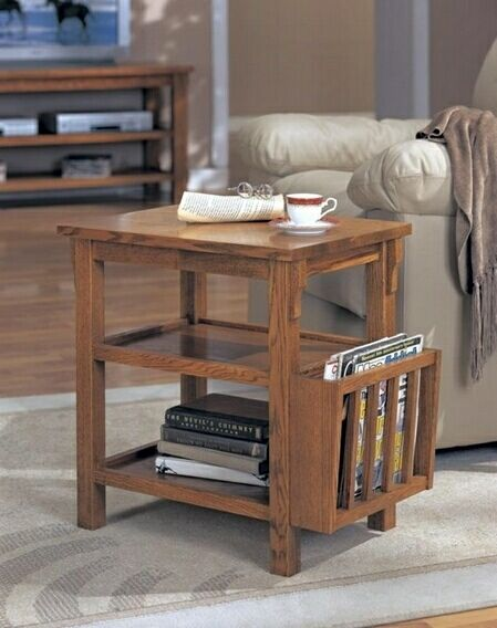 dark oak finish wood chair side end table with built in magazine rh pinterest com