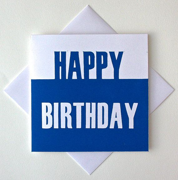 Birthday Cards For Guys Printable ~ Happy birthday card for him lino print greetings blue men boyfriend