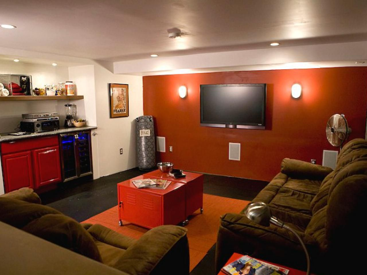 a white walled basement was transformed into a home gym and hangout rh pinterest com