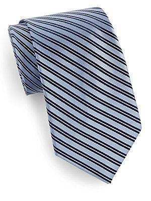 Saks Fifth Avenue Striped Silk Tie - Power Blue - Size No Size