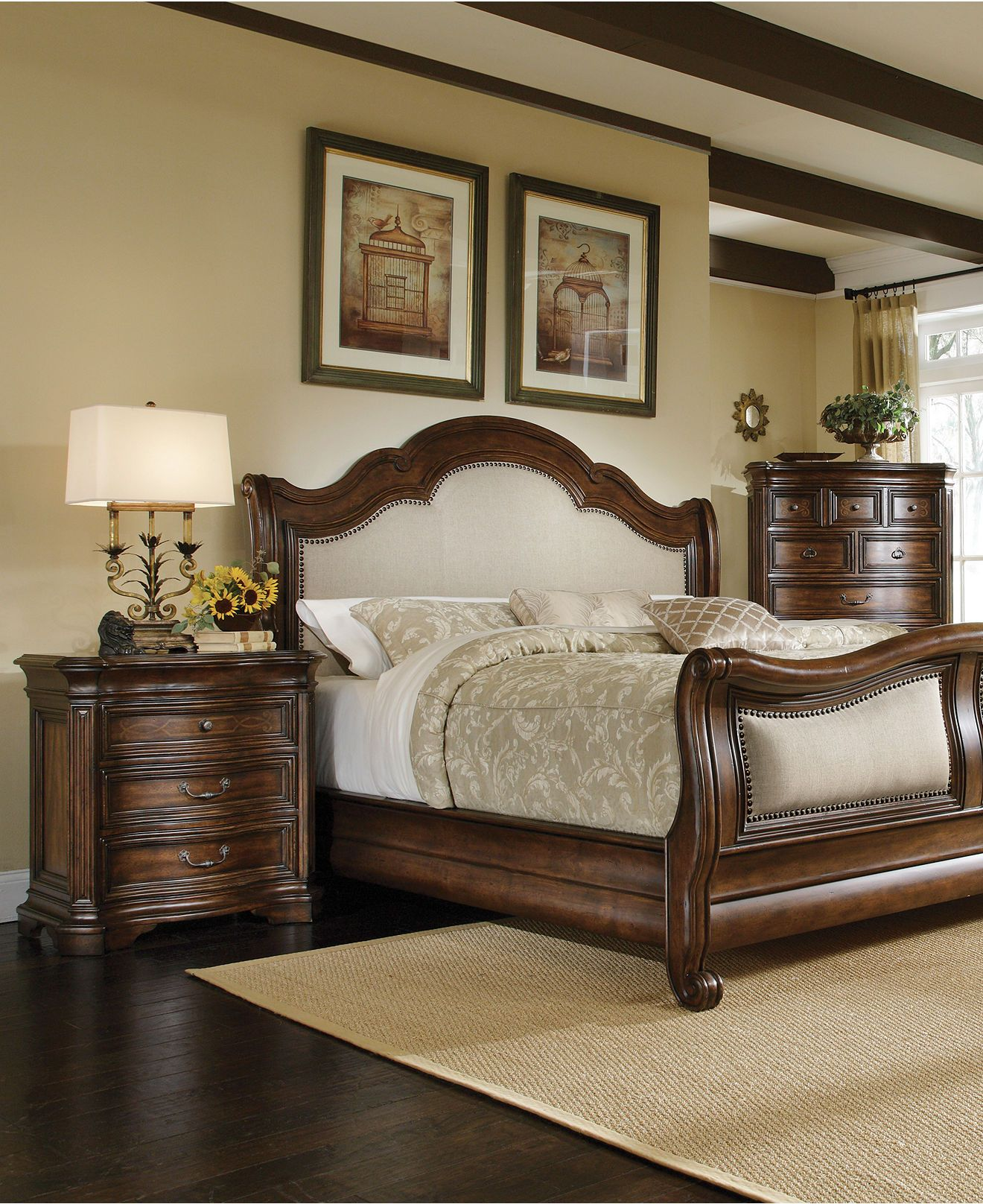Bed room Dark warm wood with neutrals