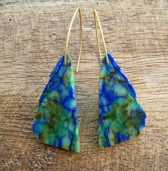 Raw Chrysocolla Stone Drop Earrings Tiffany Stained Glass.
