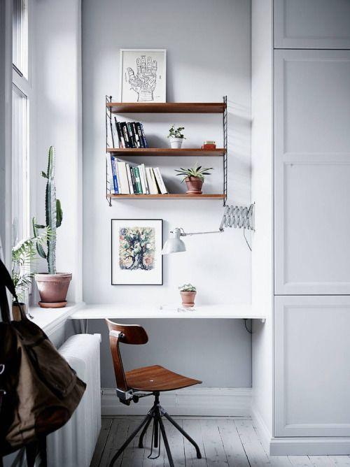 Büro Arbeitszimmer einrichten dekorieren Tolle Idee eine Ecke dafür - homeoffice einrichtung ideen interieur