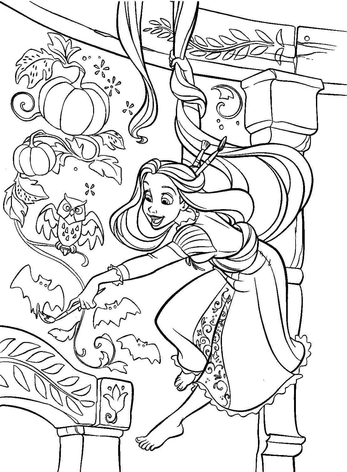 Printable coloring pages tangled - Free Printable Coloring Pages Disney Princess Tangled Rapunzel For Kids Girls
