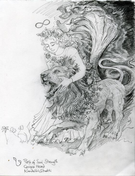 """The pencil drawing is of Strength as  FOHAT – the universal """"magical agent"""" or astral Light.   Note the raised five headed cobra from the coils of the lion's tail, bridging eastern and western yogas."""