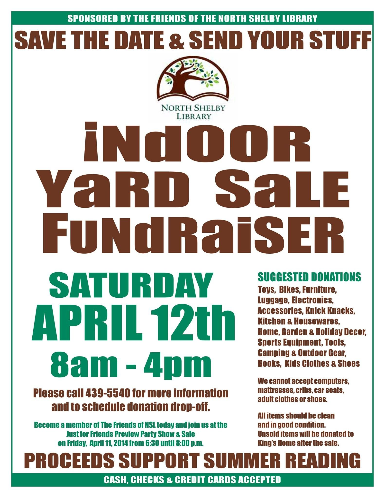 Come Find Your Treasure  North Shelby LibraryS Indoor Yard Sale