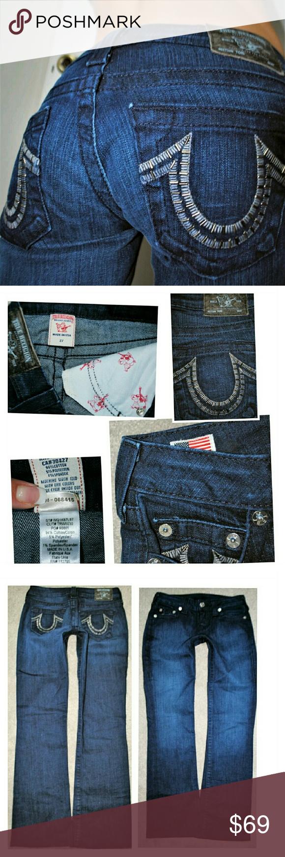 TRUE RELIGION TORI BOOTCUT DENIM JEANS 4 27 X 30 Authentic  Hemmed True Religion Jeans Boot Cut