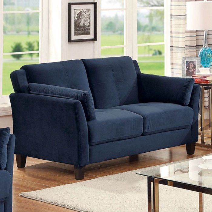 modern chairs for living room%0A Ysabel Navy Loveseat  Description   Add some modern charm to your home  with this flannelette living room set  The tufted cushions provide visual  interest